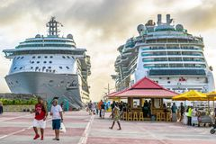 Royal Caribbean Jewel of the Seas and Serenade of the Seas Cruise Ships docked in Philipsburg Sint Maarten Cruise Port Terminal stock image