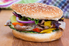 Philly cheese steak burger sandwich Stock Images