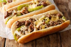 Philly Cheese Steak Sandwich Served On Parchment Paper Close-up. Horizontal Royalty Free Stock Photography