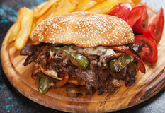 Philly cheese steak sandwich Royalty Free Stock Photography