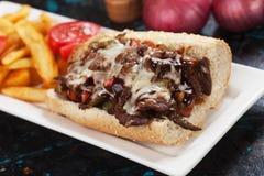 Philly cheese steak sandwich Stock Photo