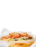 Philly Cheesesteak and French Fries. A Philly Cheesesteak and an oreder of French Fries Royalty Free Stock Photo