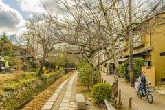 Philosopher Path, Kyoto, Japan. KYOTO, JAPAN, JANUARY - 2019 - Beautiful street winter scene at famous philosopher path, kyoto, japan royalty free stock photo