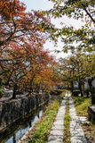 The Philosopher`s Walk. In Kyoto during Autumn stock photography
