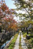 The Philosopher`s Walk. In Kyoto during autumn stock photos
