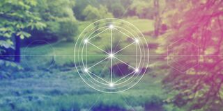Free Philosopher Stone Sacred Geometry Spiritual New Age Futuristic Illustration With Transmutation Interlocking Circles Royalty Free Stock Image - 176588146