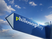 Philosophy. Blue road sign over sky background stock images