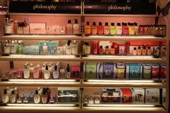 Philosophy Cosmetic Products. Philosophy is a brand that approaches personal care from a skin care point of view, while celebrating the beauty of the human Stock Photos