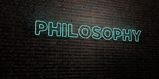 PHILOSOPHY -Realistic Neon Sign on Brick Wall background - 3D rendered royalty free stock image Royalty Free Stock Images
