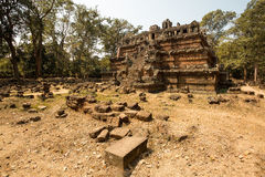 Phimeanakas. Panorama of east side with stones on the ground Royalty Free Stock Photos