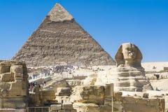 Phinx and Pyramid of Khafre, Giza, Egypt Stock Photos