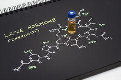 Phiole der blauen Kappe der Nahaufnahme Beispielauf Notizbuch mit chemischer Formel Stockfotografie