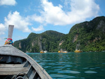 PhiPhi Island. View leaving PhiPhi Lei island from a Longtail boat, Thailand stock photography