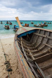 PhiPhi island long tail boats. Long tail boats stop at the Thailand PhiPhi island beach Royalty Free Stock Photography