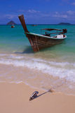 PhiPhi island long tail boats. Long tail boats stop at the Thailand PhiPhi island beach Royalty Free Stock Photos