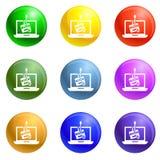 Phishing εικονίδια lap-top καθορισμένα διανυσματικά απεικόνιση αποθεμάτων