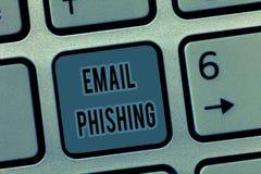 Электронная почта Phishing текста почерка Электронные почты смысла концепции которые могут соединить к вебсайтам которые распреде стоковая фотография