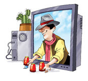 Phishing欺骗计算机显示器动画片图画 免版税库存照片
