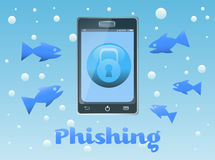 Phishing. Abstract colorful background with fishes approaching a smartphone. Phishing concept stock illustration