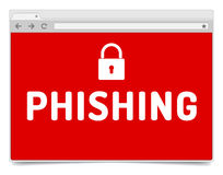 Phishing-Alarm auf geöffneter Internet-Browser Window mit Schatten Lizenzfreies Stockfoto