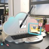 Phishing attack concept with fishing rod and e mail. Fishing rod with hostile email popping out from a computer shaped as a cloud in an office, 3d rendering Stock Photo