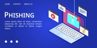 Phishing baner för bärbar dator, isometrisk stil stock illustrationer