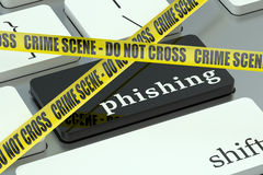 Phishing concept, on the computer keyboard Royalty Free Stock Images