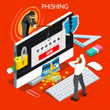Phishing Concept 3D Flat Isometric People Stock Photography