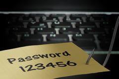 Phishing concept. Hacker is stealing password with fishing hook.  Stock Photo