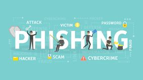 Phishing concept illustration. Idea of cyber crime and fraud royalty free illustration
