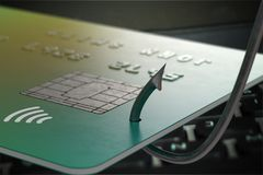 Phishing concept. Stealing credit card with fishing hook. 3D rendered illustration.  Royalty Free Stock Image