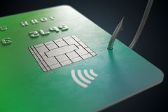 Phishing concept. Stealing credit card with fishing hook. 3D rendered illustration.  Stock Photography