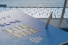 Phishing concept. Stealing credit card with fishing hook. 3D rendered illustration.  Stock Photo