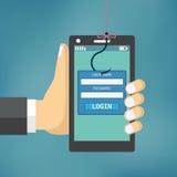 Phishing de los datos con el gancho de pesca Foto de archivo