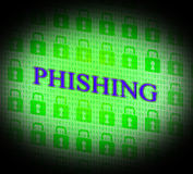Phishing a entaillé représente des pirates informatiques de vol et non autorisé Image stock