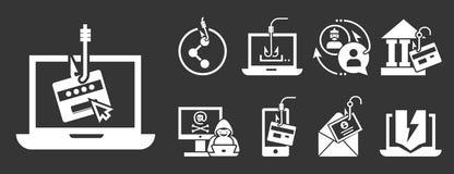 Phishing icon set, simple style vector illustration