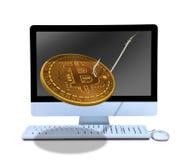 Phishing On-line-bitcoin auf dem Angelhaken, der aus Computer herauskommt, um Sie in den Kauf des Bergbaus und in das Zerhacken a lizenzfreies stockfoto