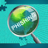 Phishing Magnifier Represents Malware Hacker And Hacked Stock Photo