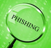 Phishing Magnifier Shows Crime Unauthorized And Magnification Stock Image