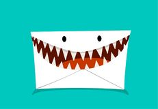 Phishing Mail in monster style, vector royalty free illustration