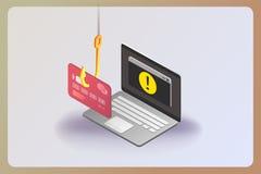 Phishing par l'interm?diaire d'illustration isom?trique de concept de vecteur d'Internet illustration stock
