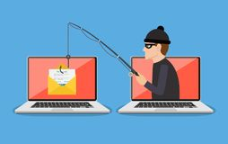 Phishing scam, hacker attack. Login into account in email envelope and fishing hook. Phishing scam, hacker attack and web security concept. online scam and steal vector illustration