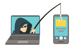 Phishing scam, hacker attack on smartphone vector illustration. Attack hacker to data, phishing and hacking crime stock illustration