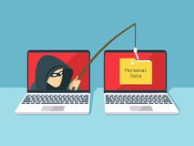 Phishing scam, hacker attack and web security vector concept Stock Photos