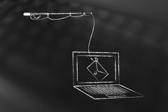 Phishing threat on laptop screen, fishing rod with email instead. Fishing rod with email instead of bait falling into laptop screeen, concept of phishing and Royalty Free Stock Photo