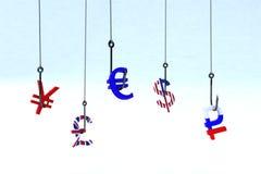Phishing valuta för begrepp Arkivfoto