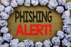 Phishing varning Affärsidé för bedrägerivarningsfara som är skriftlig på tappningbakgrund med kopieringsutrymme på gammal bakgrun Arkivbild