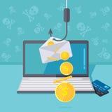 Phishing via internetvektorillustration Fiska vid emailspoo vektor illustrationer