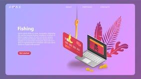 Phishing via l'illustrazione isometrica di concetto di vettore di Internet illustrazione di stock