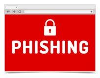 Phishing waakzaam op geopend Internet-browser venster met schaduw Royalty-vrije Stock Foto